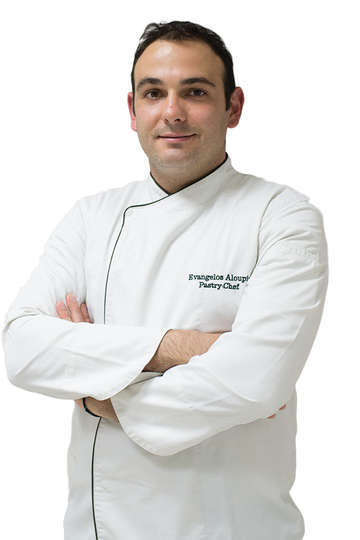 Ευάγγελος Αλούπης. Καθηγητής Ζαχαροπλαστικής του ΙΕΚ PRAXIS. Pastry Chef, Electra Metropolis –Electra hotels & Resorts, Αθήνα.