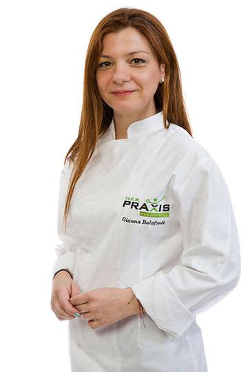 Γιάννα Μπαλαφούτη. Καθηγήτρια ΙΕΚ PRAXIS. Είναι καθηγήτρια γαστρονομίας και διδάσκει Δημιουργία Ιδέας και Ανάπτυξη Προϊόντος.